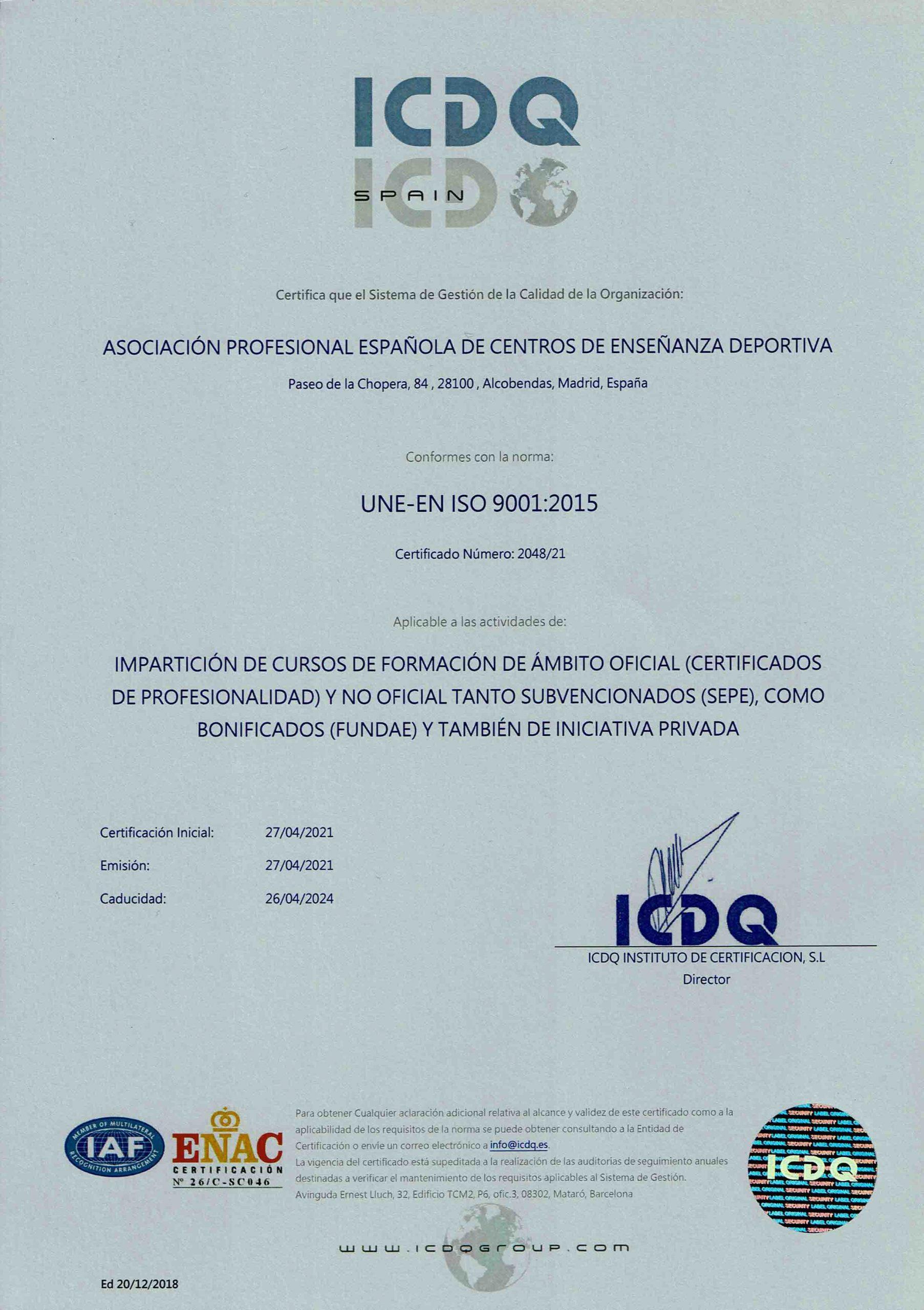 documento iso 9001 certificado apeced pro